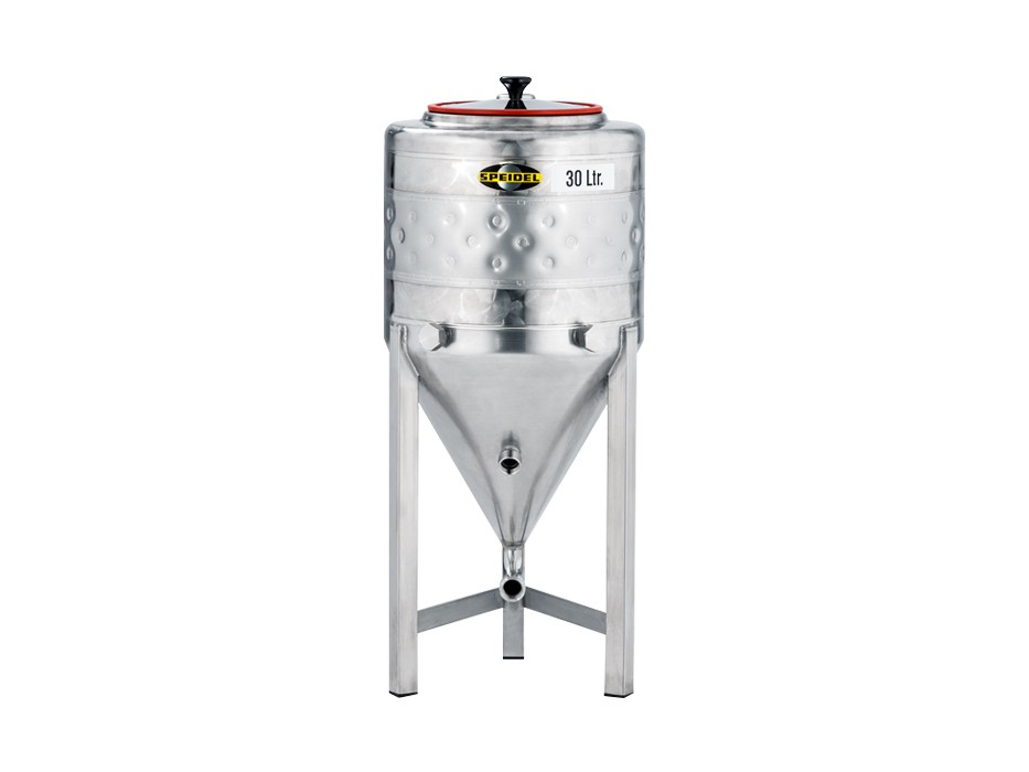 Conical stainless steel fermentation tank